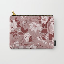 Floral Pink Roses and Flowers Carry-All Pouch