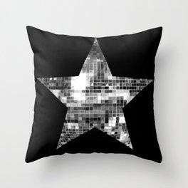 Shiny Silver Disco Ball Star Throw Pillow