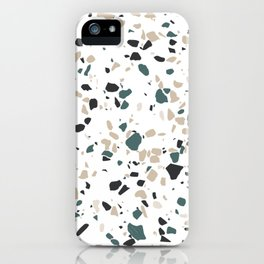 Terrazzo White Green Khaki Black iPhone Case