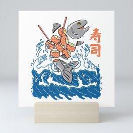 Salmon Sushi in the Wave Mini Art Print