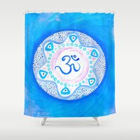ohm Shower Curtains featuring Ohm / Om 2 by HollyJonesEcu