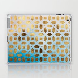 Exotic Gold Moroccan Geometric Pattern on Blue Background Laptop & iPad Skin