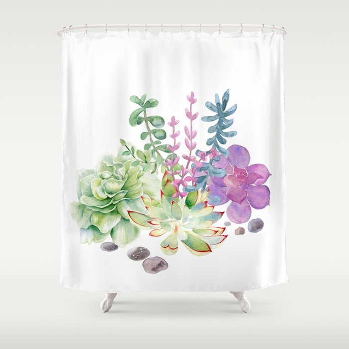 Succulents Shower Curtain By Nadja1