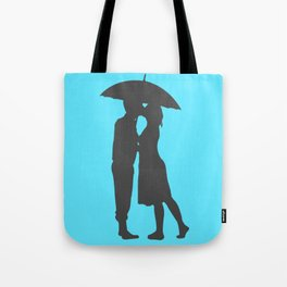 Couple Kissing In Rain Simple Man & Woman Blue & Gray Art Wedding Love Theme Tote Bag