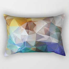 Abstract background of triangles polygon print. Bright design colors Rectangular Pillow