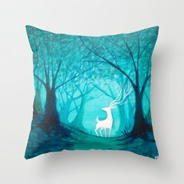 White Stag Throw Pillow