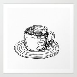 Coffee Cups Collection - #8 Coffee cup - Wire Art Print