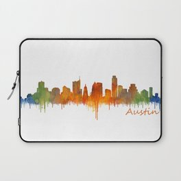 Austin Texas, City Skyline, watercolor  Cityscape Hq v2 Laptop Sleeve