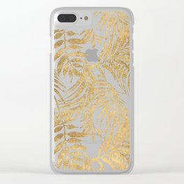 Elegant tropical gold white palm tree leaves floral Clear iPhone Case