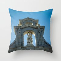 real madrid Throw Pillows featuring Almudena Cathedral, Madrid by Svetlana Korneliuk