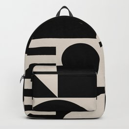 Mid Century Modern Geometric Abstract 936 Black and Linen White Backpack