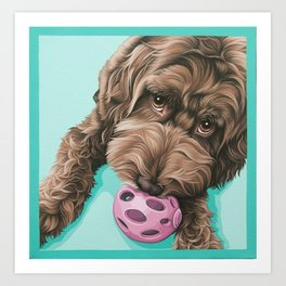 Labradoodle Dog with a Ball Art, Cute Puppy with Toy, Labradoodle Portrait Art Print