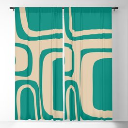 Palm Springs - Midcentury Modern Abstract Pattern in Mid Mod Turquoise Teal and Beige  Blackout Curtain