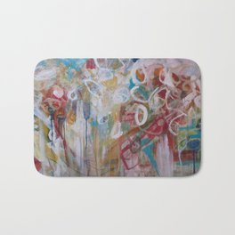Playing in the Garden - Abstract Modern Contemporary Flowers Bath Mat