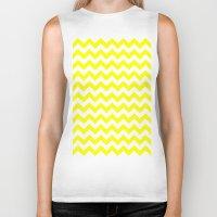 chevron Biker Tanks featuring Chevron (Yellow/White) by 10813 Apparel