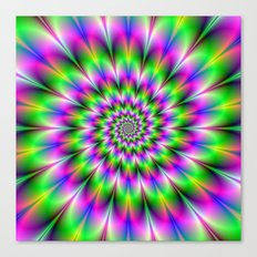 Spiral Rosette in Pink Green and Blue Canvas Print