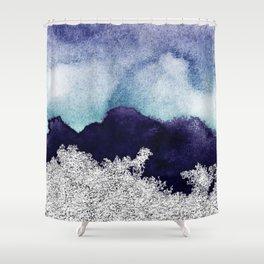 Silver foil on blue indigo paint Shower Curtain