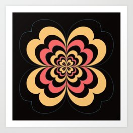 Groovy Flower In Yellow and Coral on Black Art Print