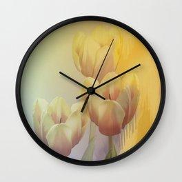 Tulips in golden light Wall Clock