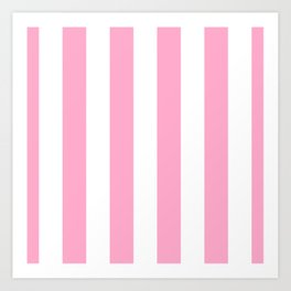 Pale Sweet Lilac and White Wide Vertical Cabana Tent Stripe Art Print