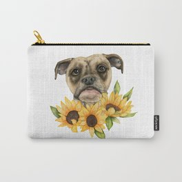Cheerful | Bulldog Mix with Sunflowers Watercolor Painting Carry-All Pouch