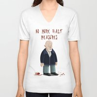 mike wrobel V-neck T-shirts featuring Mike Ehrmantraut by Sloe Illustrations