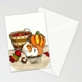 Autumn guinea pig with apples and pumpkin Stationery Cards