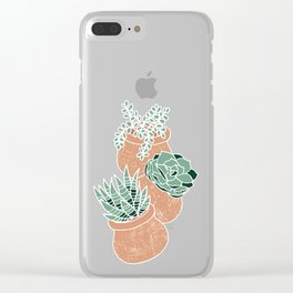 Succulent's Tiny Pots Clear iPhone Case