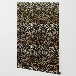 Gold and Black Spot Dot Pattern Wallpaper