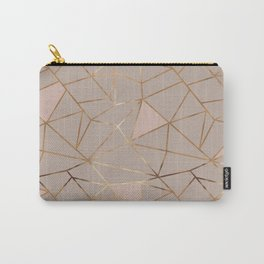 Geometrical mauve pink faux gold blush chic pattern Carry-All Pouch