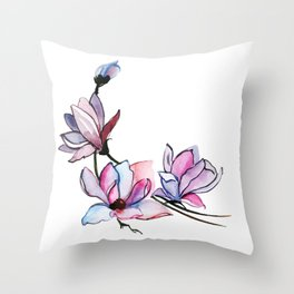 Watercolor Spring Floral and Leaves Collection Throw Pillow