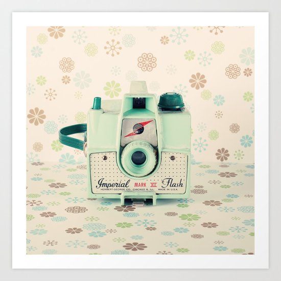 Mint Retro Film Camera on Beige - Cream Pattern Background  Art Print