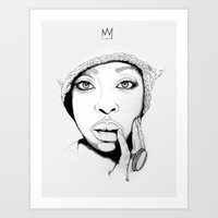 "erykah badu Art Prints featuring ""Erykah Badu 1"" by Sydney The Artist"