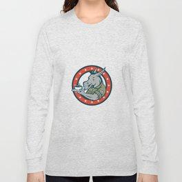 Army Sergeant Donkey Coffee Circle Cartoon Long Sleeve T-shirt