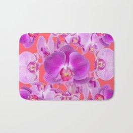 Pink & Purple Orchids Coral Colored Art Patterns Bath Mat
