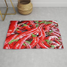 Market Fresh Red Chili Peppers Rug