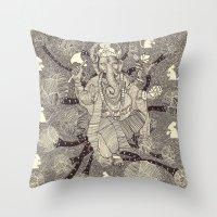 ganesh Throw Pillows featuring Ganesh by nu boniglio