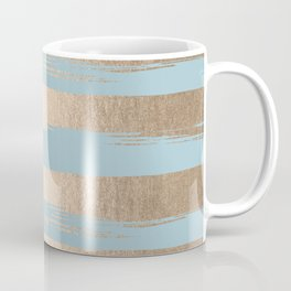 Painted Stripes Gold Tropical Ocean Sea Blue Coffee Mug