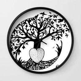 """Tree of Flight"" Hand-Drawn by Dark Mountain Arts Wall Clock"