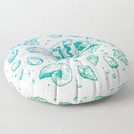 Geo-rex Vortex   Turquoise Ombré Floor Pillow