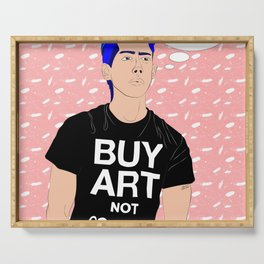 Buy Art, Not Cocaine - Dude with Blue Hair Typography Digital Drawing Serving Tray