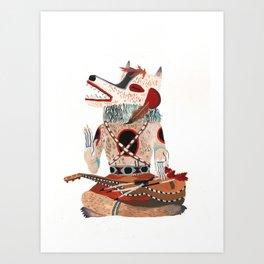 Sitting Wolf Art Print