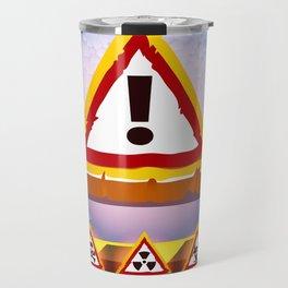 Grunge Background With Warning Signs Travel Mug