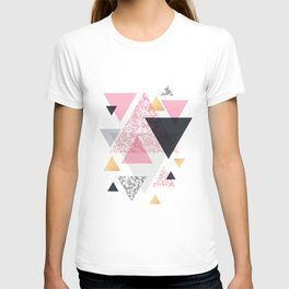 Multi Triangle - Rose Gold and Marble T-shirt