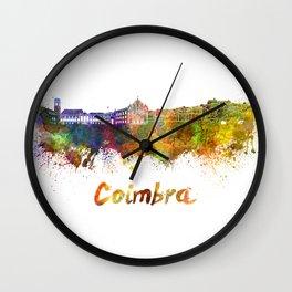 Coimbra skyline in watercolor Wall Clock