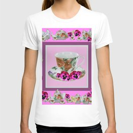CERISE PANSY FLOWERS ANTIQUE TEA POTS & CUPS T-shirt