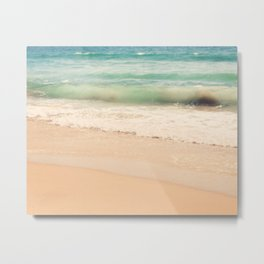 beach. Sea Glass ocean wave photograph. Metal Print