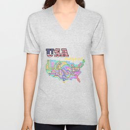 USA Underground with colorful lines Unisex V-Neck