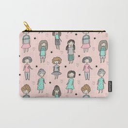 Girls illustration little women cute pattern kids rooms gifts Carry-All Pouch