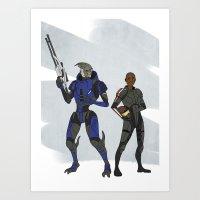 garrus Art Prints featuring Shepard and Garrus by Joe Byrne